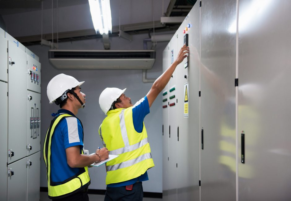 Picture of engineers doing maintenance in a power plant